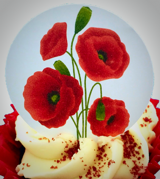 Edible cake toppers decoration - Poppies